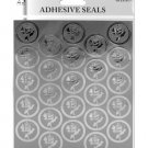 Silver foil rose adhesive seals