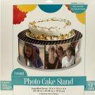 Black and White Polka Dot Photo Cake Stand