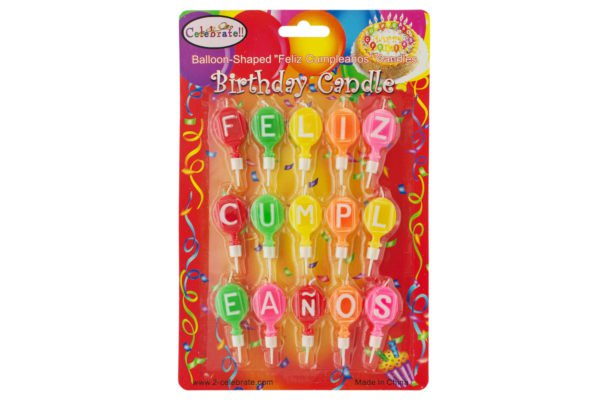 "Balloon-Shaped ""Feliz Cumpleanos"" Birthday Candles"