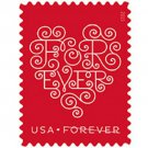 USPS First Class Postage Forever Heart Stamps 1pc