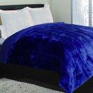 Garden Home Luxurious Borrego Blanket Super Soft Plush Reverses to Sherpa (King Blanket Only, Navy)