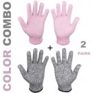 Cut Resistant Gloves (2 pairs, Pink + Grey)