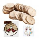 30pcs Natural Wood Slices Round Discs Tree Bark Wooden Circles for DIY Crafts