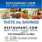 Restaurant.com $100 Gift Card Discount Coupon 100 50 25 Birthday Party Food