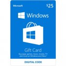 USA $25 Microsoft Windows Store Gift Card