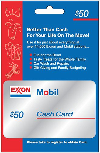 Exxon Mobil gas station Car store $50 Gift Card Discount 50 Gasoline Oil
