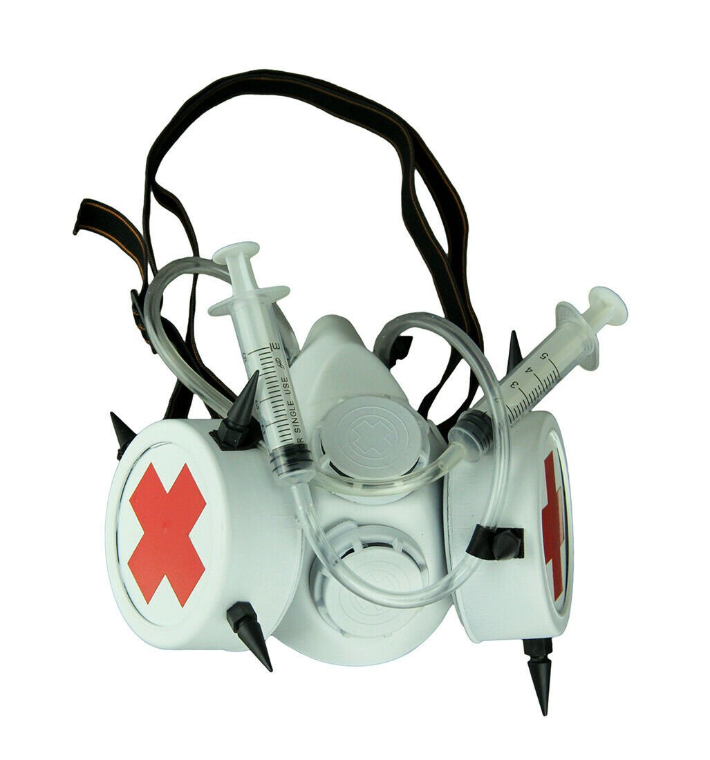 White Bio-Hazard Nurse Gas Mask with Medical Syringes and Spikes Halloween Ghost