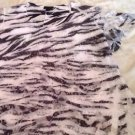 New BRITTANY BLACK Women's 2X Flutter Sleeve Top Animal Print White Black Lace