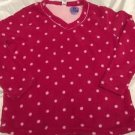NEW Pink & White Polka Dot V-neck Snugly Pajama Top Women's Sz 2X Free Shipping