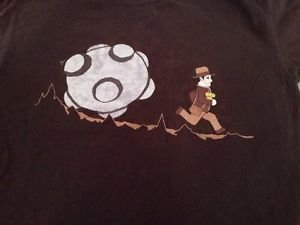 NEW Indiana Jones Parody Graphic Short Sleeve T-shirt Men's Size Large Brown