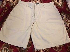 Dockers Men's Shorts, Individual Fit Waist, Cream Khaki Flat Front Sz 36