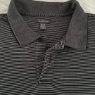 VAN HEUSEN Men's Striped Short Sleeve Polo Gray & Black Sz XL Free Shipping