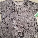 New CATHY DANIELS Designer Paisley Black White Sequin Top XL W/Stretch Gorgeous!