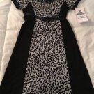 Rare Editions Snow Leopard Print Dress + Black Sparkly Belt Girls Sz 12 Boutique