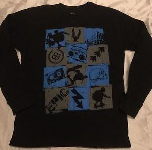 "NEW Black Long Sleeve ""Long John"" Style Graphic Shirt Boys XXL 18 Skateboarding"