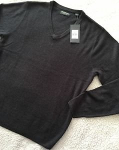 NEW JOHN BARTLETT CONSENSUS Soft V-Neck Gray Sweater Men's Size Large $45