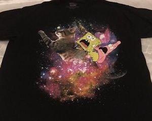 Spongebob Squarepants Black T-shirt Men's Sz XL Spongebob & Patrick Flying Cat