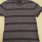 Marc Anthony Brand Men's Purple Striped V-neck Short Sleeve T-shirt Sz Large