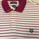 NEW Chaps Polo Men's XL $54 White W/ Fuchsia Stripe Free Shipping