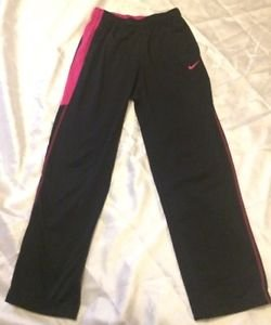 Nike Girls Therma-fit Athletic Pants Sz Large Black & Pink Free Shipping
