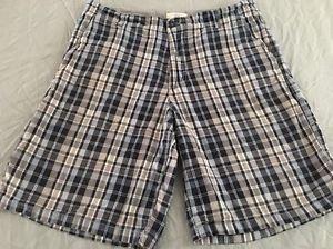 Mens* Blue & Gray Plaid* Flat Front Shorts Size 34 Free Shipping