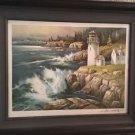 Antique Tom Nicholas 1977 Signed Lithograph New England Lighthouse Limited W/COA