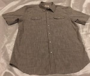PD&C Authentic Apparel Men's Gray Short Sleeve Button Front Dress Shirt Sz XXL
