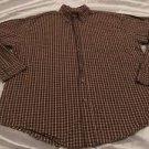 WRANGLER Cool River Cotton Brown Plaid Long Sleeve Button Front Shirt Sz Large