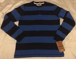 NEW Urban Pipeline Long Sleeve Henley Shirt Boys Sz XL Blue Stripe Free Shipping