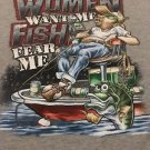 "Men's Gray Graphic Tshirt Sz XL ""Women Want Me Fish Fear Me"" Funny Humor Shirt"