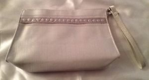 NEW Victoria's Secret Silver Wristlet Evening /Cosmetic Bag