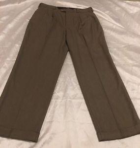 JOHN HENRY Brand Men's Pleated Dress Slacks Sz 36x30 Green, Free Shipping