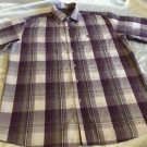 Avirex Brand Men's Purple Plaid Short Sleeve Button Up Shirt Sz Large Nice