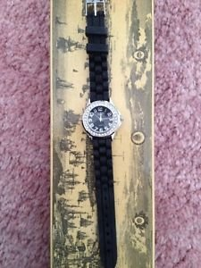 NEW Vivani Watch Womens Black Band Simulated Crystals Free Shipping