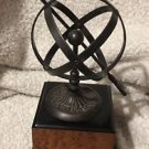 Handcrafted Tabletop Armillary Sundial Iron Sphere Square Pedestal Collectible