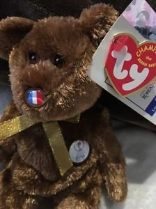 TY Beanie Baby Fifa World Cup 2002 Champion France Flag Nose Rare! Free Shipping