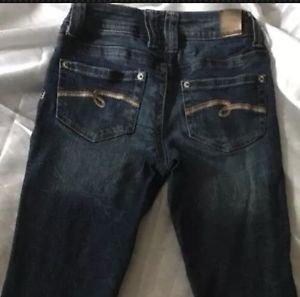 JUSTICE Distressed Premium Jeans Dark Wash Sz 10 Reg W/ Stretch Simply Low Rise