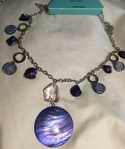 "NEW 32"" Genuine Shell Necklace Blue & Silver Pretty! Spring Summer Free Shipping"