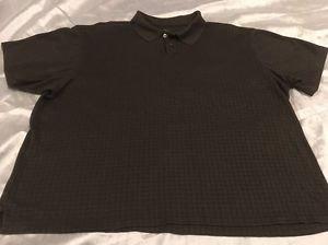 VAN HEUSEN Men's Short Sleeve Polo Sz XXL Brown Squares Design Free Shipping