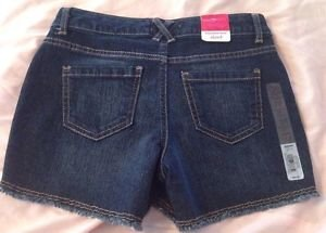 New SO Brand Girls Jean Shorts Sz 10 Dark Wash Adjustable Waist Free Shipping