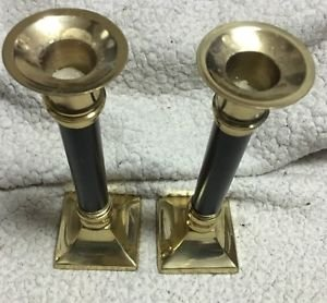 """Vintage Pair Brass & Black Candlesticks Made in India 7.5"""" Tall RARE Home Decor"""