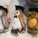 TY Beanie Babies Lot Graduation Owls Wiser Wisest Smartest '99/'00/'03 Retired