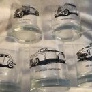 Vintage Set (5)1930's,40's,50's Antique Car Drinking Glasses Highball Tumblers