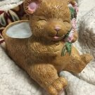 Vintage Ceramic Planter Cute Bear With Roses For Spring, Indoor Plants