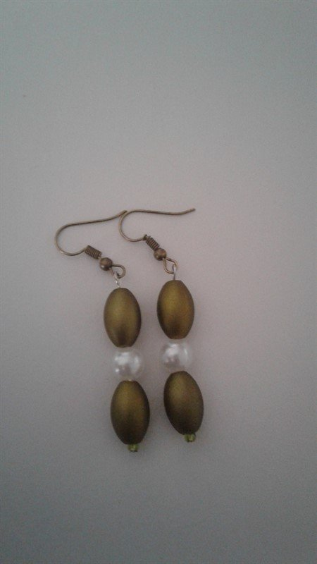 Beautiful Women's Olive Green and White Earrings