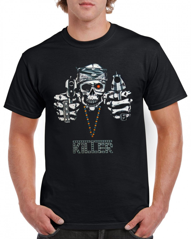 Killer Skull Guns Gothik T-shirt Heavy Metal Cool Tshirt Festival Party Top Tee