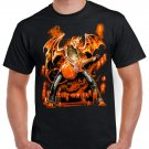 Skeleton Devil Flames Guitar T-shirt Heavy Metal Rock Tshirt Cool Festival Top Tee