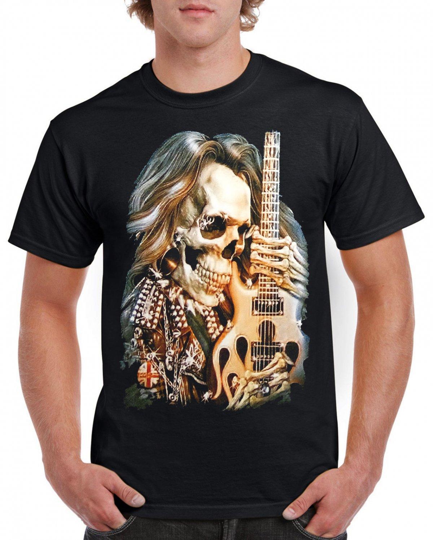 Skeleton Guitar T-shirt Heavy Metal Rock Cool Tshirt Festival Party Top Tee