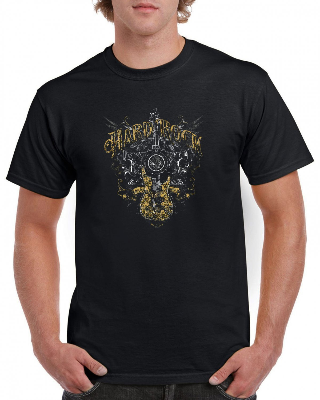 Gold Hard Rock T-shirt Guitar Rock Heavy Metal Tshirt Festival Top Tee