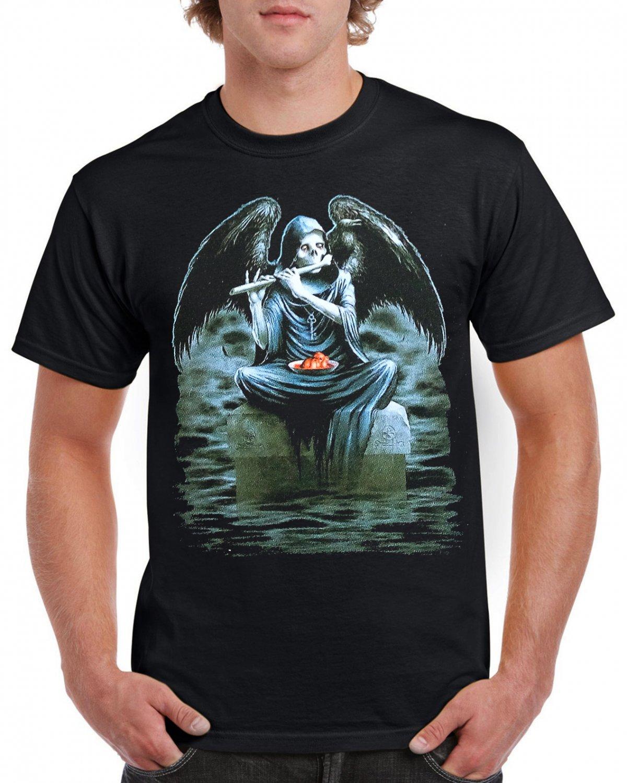 Gothik Angel Guitar Skulls T-shirt Heavy Metal Rock Tshirt Festival Top Tee